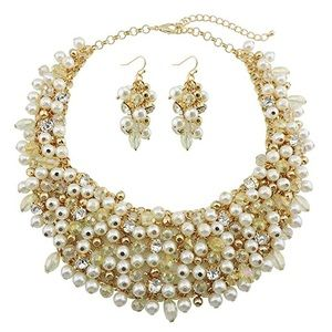 Faux Pearl Crystal Collar Statement Necklace Set